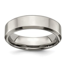 Chisel Titanium Beveled Edge 6mm Brushed and Polished Band