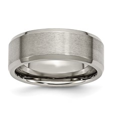 Chisel Titanium Beveled Edge 8mm Brushed and Polished Band