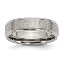 Chisel Titanium Ridged Edge 6mm Satin and Polished Band