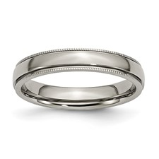 Chisel Titanium Grooved and Beaded 4mm Polished Band