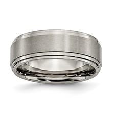 Chisel Titanium Ridged Edge 8mm Satin and Polished Band
