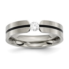 Chisel Titanium 0.33ct. Diamond 6mm Brushed Band