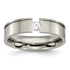 Chisel Titanium 0.25ct. Diamond 6mm Polished Band