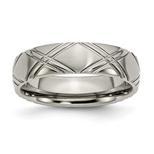 Chisel Titanium Criss-cross Design 6mm Brushed and Polished Band