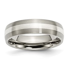 Chisel Titanium Sterling Silver Inlay 6mm Brushed Band