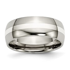 Chisel Titanium Sterling Silver Inlay 8mm Polished Band