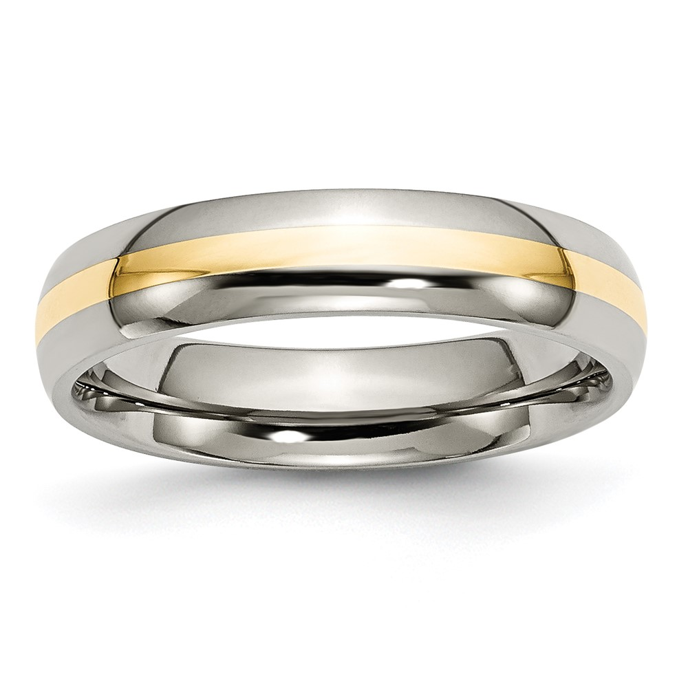 Jewelry Brothers Titanium 14k Yellow Inlay 5mm Polished Band at Sears.com