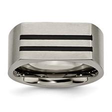 Chisel Titanium 10mm Black Enamel Stripes Brushed Band