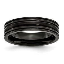 Chisel Black Titanium Grooved 6mm Brushed and Polished Band