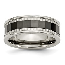 Chisel Titanium Sawtooth Accent Polished Black Ceramic Center 8mm Band