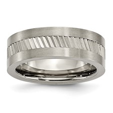 Chisel Titanium Sawtooth Accent Flat Polished 8mm Band