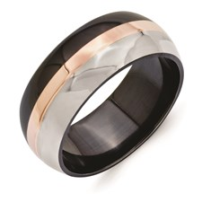 Chisel Titanium Black Ti 18K Rose Gold Inlay 9mm Polished Band