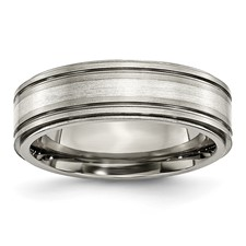 Chisel Titanium Sterling Silver Inlay Ridged Edge 7mm Polished Band