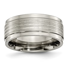 Chisel Titanium Grey Sterling Silver Inlay Ridged Edge 9mm Band
