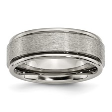 Chisel Titanium Grooved Edge 8mm Satin and Polished Band