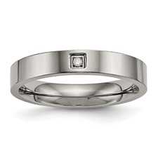 Titanium Polished Flat Comfort Back CZ Ring