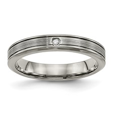 Titanium Polished Grooved Comfort Back CZ Ring