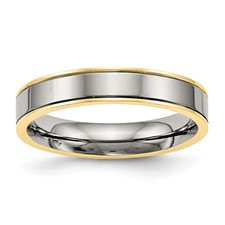 Titanium Polished Yellow IP Grooved Comfort Back Ring