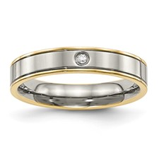 Titanium Polished Yellow IP Grooved Comfort Back CZ Ring