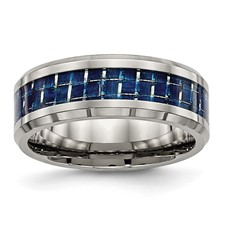 Titanium Polished w/ Blue Carbon Fiber Inlay Band