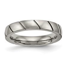 Titanium Polished Grooved Ring