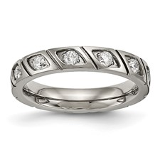 Titanium Polished Grooved CZ Ring