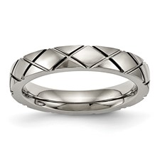 Titanium Polished Criss Cross Grooved Ring