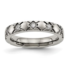 Titanium Polished Criss Cross Grooved CZ Ring