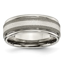 Chisel Titanium Sterling Silver Inlay Satin and Polished 8mm Band