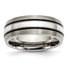 Chisel Titanium Sterling Silver Inlay 8mm Brushed with Antiquing Band