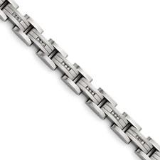 Titanium Polished/Matte 3/4ct tw. Diamond Bracelet