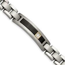 Titanium/14K Polished/Brushed w/Black Onyx 0.05ct. tw dia 8in Bracelet