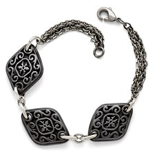 Titanium/Ster.Sil Black Ti Polished Etched 3 Charm Bracelet