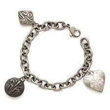 Titanium/Ster.Sil Black Ti Polished Etched Charm Bracelet