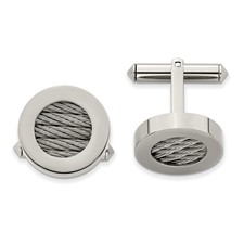 Chisel Titanium and Steel Wire Cuff Links