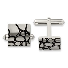 Chisel Titanium Black Enameled Cuff Links