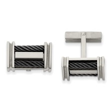 Chisel Titanium Black-plated Wire Cuff Links