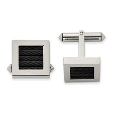 Titanium Polished Black IP-plated Wire Cuff Links