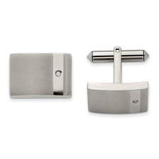 Titanium Brushed and Polished Clear CZ Cuff Links