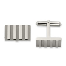 Titanium Polished and Brushed Stripes Cuff Links