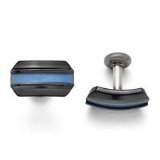 Titanium Black Ti Polished Blue Annodized Cuff Links