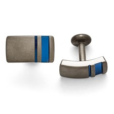 Titanium Grey Ti Brushed Blue Anodized Stripe Cufflinks