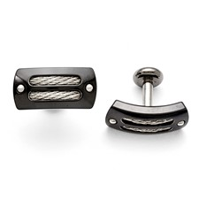 Titanium/Ster.Sil Black Ti Polished w/Cable Inlay Cuff Links