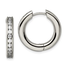 Chisel Titanium CZ Hinged Hoop Earrings