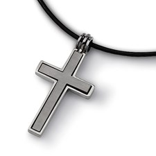 Chisel Titanium Leather Cord Cross Necklace