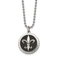 Chisel Titanium with Black Enamel Fleur de Lis Necklace