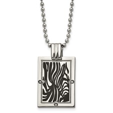 Chisel Titanium with Black Enamel and  1/20ct. Diamond Necklace