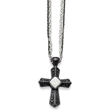 Titanium/Ster.Sil Black Ti Polished Etched Cross Necklace