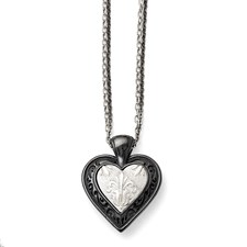 Titanium/Ster.Sil Black Ti Polished Etched Heart w/2 Chain Necklace