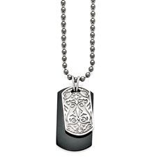 Titanium/Ster.Sil Black Ti Polished Etched Dog Tag Necklace